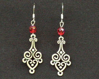 Metal and Red Crystal Dangle Earrings