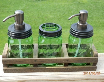 4 pc-Handcrafted Green mason jar soap dispenser Set-rustic crate with High Longevity metal pump and choice of Primitive Lid and pump color.