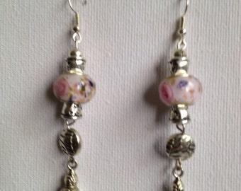 Pink Murano bead and Tibetan silver dangle Earrings