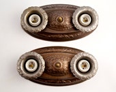 Restored Matched Pair, Ornate Victorian/Deco Ceiling Sconces, Silver Metal Patina