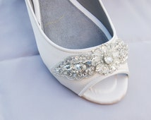 ivory or white bridal peep toe flat adorned with high couture handmade crystal trim - MARLIE