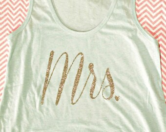 Mrs. Bridal Flowy Tank Top (Ice Green/ Silver Glitter)