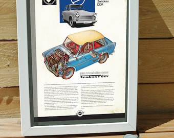 classic car on poster, digital print, Central european car, Trabant, DDR