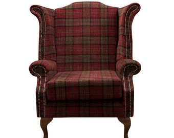 Armchair Fire Side chair in a red tartan fabric