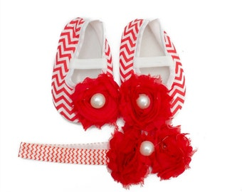 Baby Girl's Valentines Red Chevron Crib Shoes And Matching Headband Set
