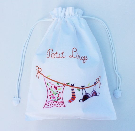 Cotton Embroidered Drawstring Laundry Bags. Lingerie Bag. Gift