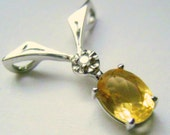 SALE Citrine & Diamond Pendant14kWhite Gold 7mm X 5mm Oval 0.75 - 0.90 CT Natural Genuine+Certificate Gift For Her
