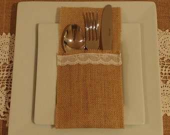 6 Burlap / Hessian and lace cutlery holder