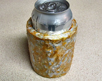 NEW! - Beer Can Cozy - Soda Can Cozy - Textured Gold & Silver