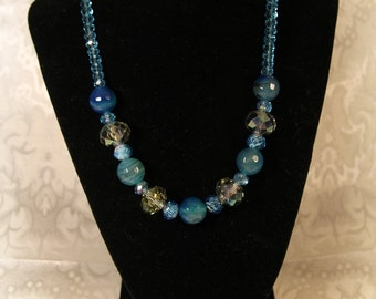 846-Necklace and earrings inglass  Turquoise Blues with Olive accents