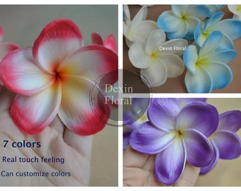 7 colors! Natural Real Touch White/Blue Artificial Silk frangipani Plumerias flower heads for cake decoration