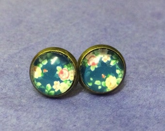Retro floral flower blue studs post earrings esty uk costume jewellery gift shabby chic home