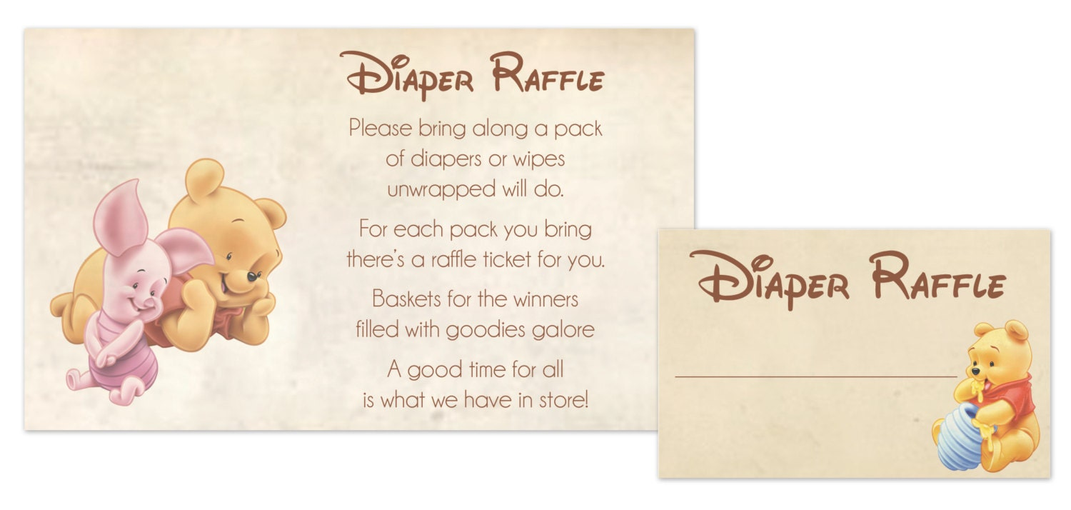Winnie the Pooh Baby Shower Diaper Raffle by JessiCarlinDesigns