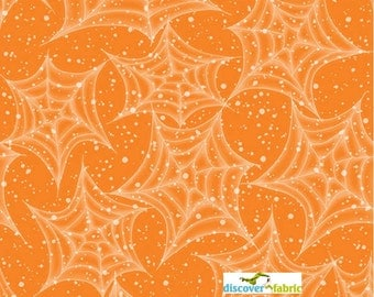 Happy Haunting Halloween Fabric Orange Cobwebs 39.5 INCHES End Of Bolt by Gail Green
