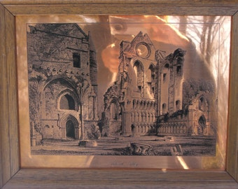 Picture - Etched Copper - Arbroath Abbey - Architectural - Vintage