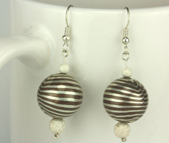Mokume Gane Earrings: Mokume Gane Striped Bead Earrings