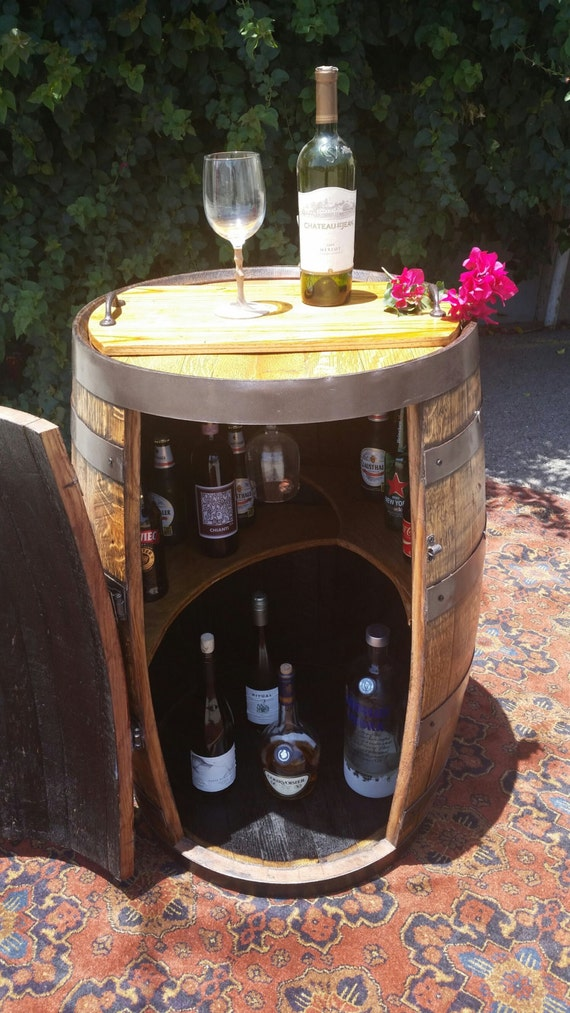 Reclaimed Oak Whiskey Barrel Liquor Cabinet Mini Bar W