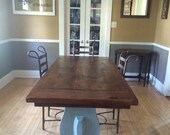 Reclaimed wood farmhouse dining room table