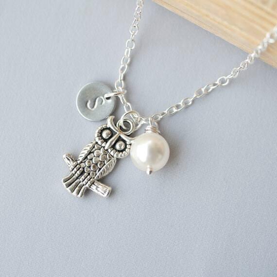 Personalized Initial Owl Necklace, Swarovski Pearl Necklace