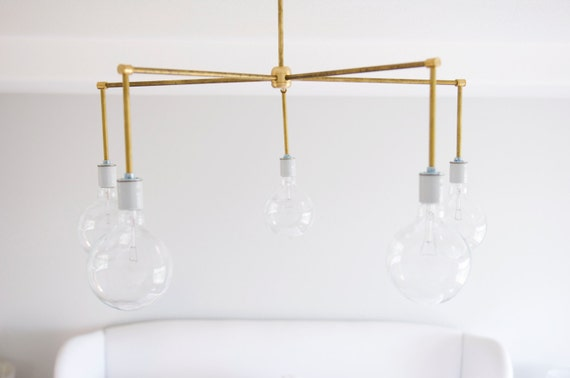 Modern Brass Light Fixture, Raw Brass 5 light Chandelier