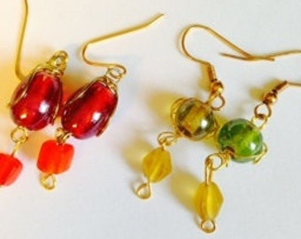 Red wire wrapped glass bead earrings.  Green and yellow wire wrapped glass bead earrings.  Dangle earrings.  Wire wrapped earrings. TBFB0615