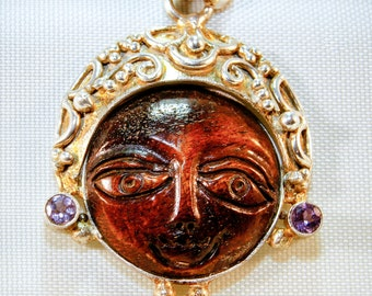 Moon Goddess | Bone And Amethyst Pendant | .925 Sterling Silver | Free Ship And Gift Box/Bag