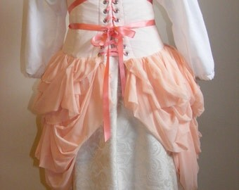Pale Peach Busk with Attached Bustle Style Skirt