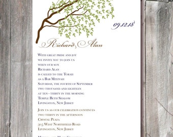 Bar Mitzvah Invitation - tree theme with brown and navy (BM1205) for personalized digital download or printed