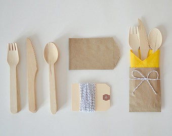 Wooden Utensils 5 Piece Kit // Disposable Wooden Cutlery // Silverware Bags // Picnic Utensils