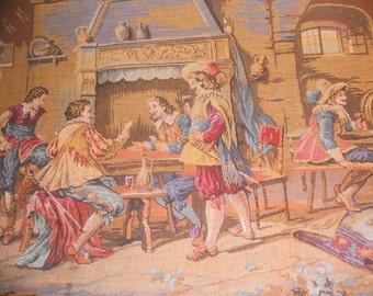 Vintage Belgium Tapestry, French Tapestry, Romantic Pub Scene, Pillow Fabric, Linen