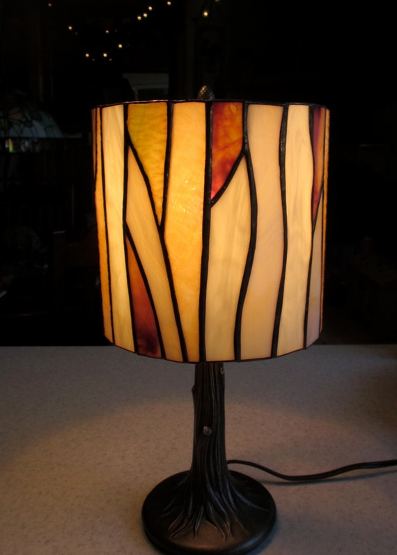 Woodlands Lamp Shade In Shades Of Amber With Tree Trunk Base