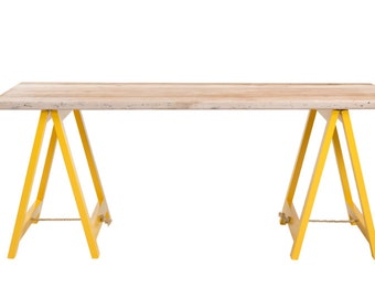 Trestle table - yellow + timber - desk, dining table, console table, coffee table, kids desk, breakfast bar