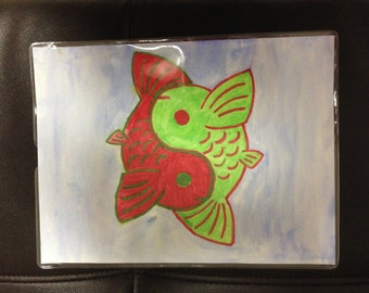 Green & Red Yin-Yang Koi Fish Watercolor Painting