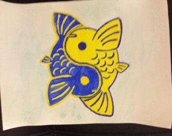 Yellow & Blue Yin-Yang Koi Fish Watercolor Painting