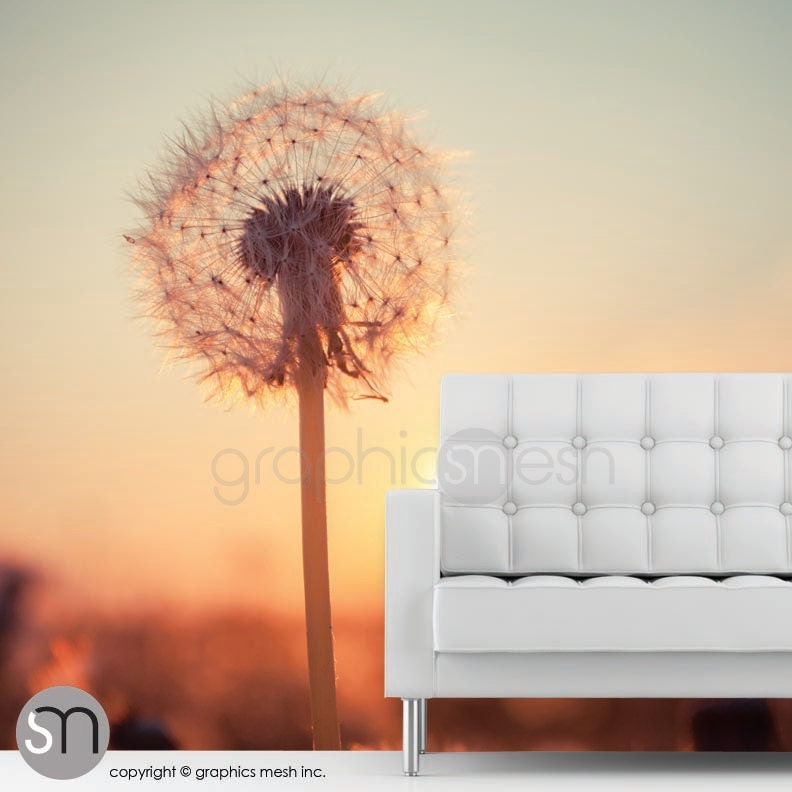 Dandelions at sunset wall mural self adhesive removable for Dandelion wall mural