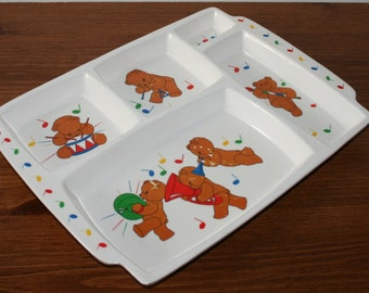 Vintage melamine kids tray divided food tray for kids with teddy bears cafeteria school lunch trays