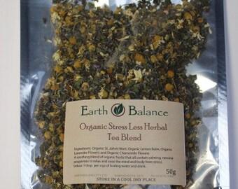 Stress Less Herbal Tea Blend Organic, High Quality Herbs, Australian Stock 50g
