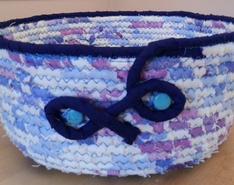 Big blue fabric coiled basket/bowl