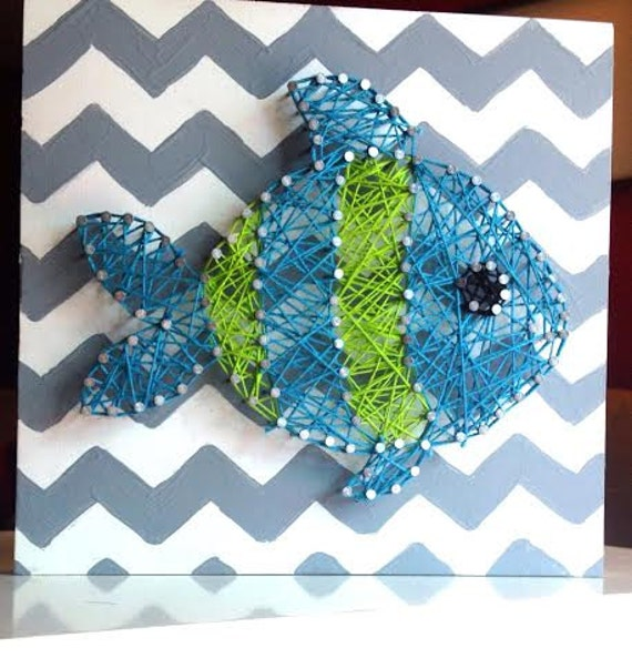 Items similar to fish string art nursery decor baby boy for Fish string art