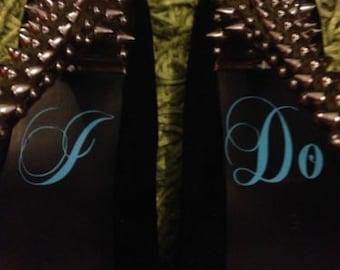I Do wedding day shoe decals - something blue - bride