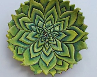 Patterns in Nature Bowl, Green Leaves Hand built, carved and painted with carved patterned rim, double resin glazed.