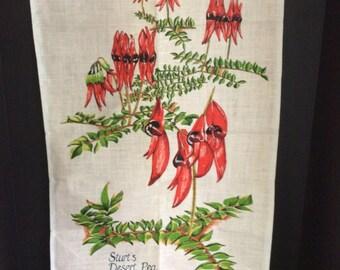 Vintage Souvenir Australia towel Sturt's Desert Pea