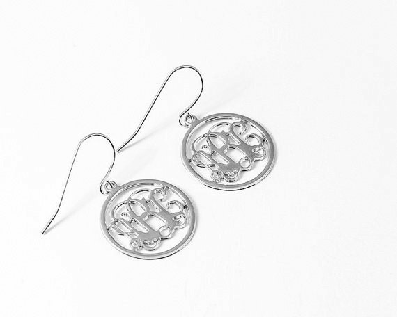 Silver Round Monogram Earrings - 1 inch Personalized Monogram