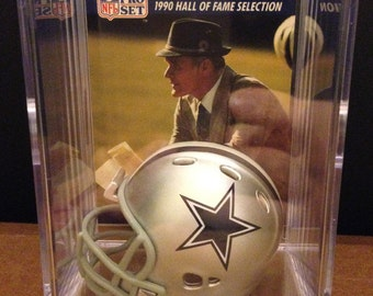Dallas Cowboys coach Tom Landry and Jimmy Johnson Mini Helmet Shadowbox w/ card