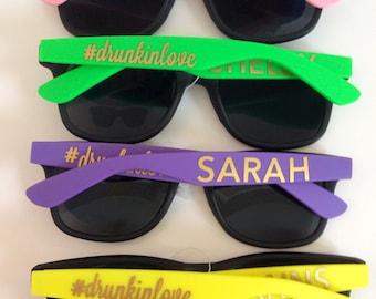 Customizable Black Frame with Colored Arm Wayfarer Sunglasses, Wedding Sunglasses, Bachelorette Sunglasses, Personalized Sunglasses