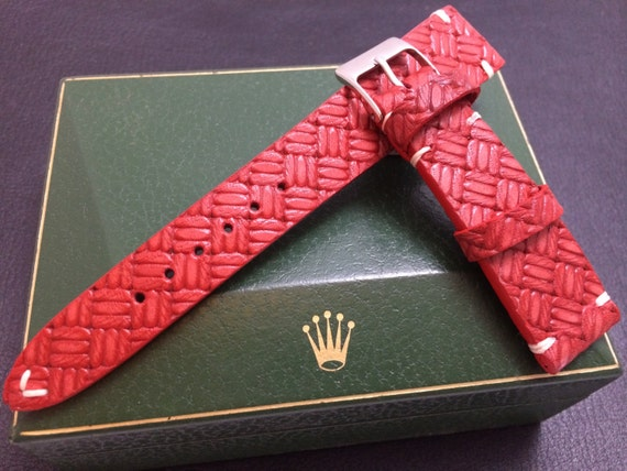 Vintage look red cross pattern Rolex Strap, handmade leather watch band with cream white Stitching - 18mm/19mm/20mm lug width, 16mm buckle