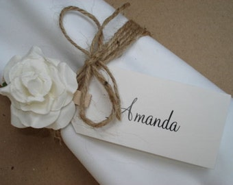 12 Vinatge/Rustic/Shabby Chic Wedding Place Name Cards/Tags