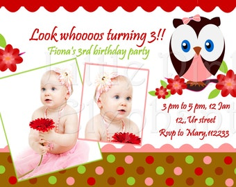 Owl birthday party baby shower invitation printable