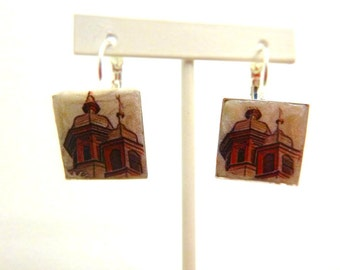 Towers - Architecture Square Clay tile leverback earrings