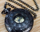 Gunmetal Black Pocket Watch with chain Steampunk Pocketwatch with gold dial gift for him Wedding gifts